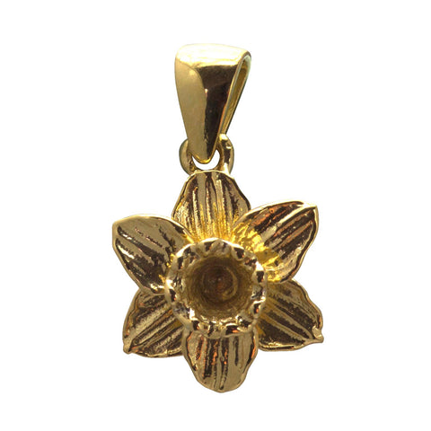 Pendant / Charm - Welsh Daffodil - 18ct Gold Plated-Jewellery-The Welsh Gift Shop
