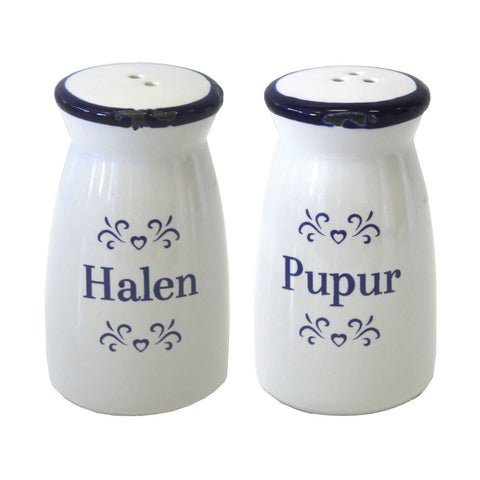 Shaker Set - Blue & White Ceramic - Halen & Pupur - Salt & Pepper-The Welsh Gift Shop