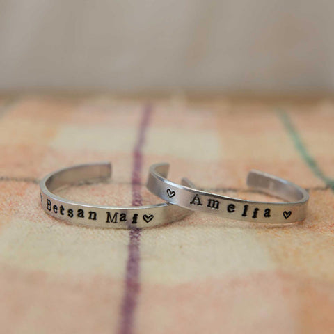 Bangle - Hand-stamped Aluminium - Personalised-Jewellery-The Welsh Gift Shop