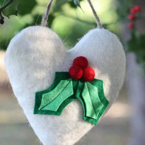 Christmas Heart Decoration - Wool - Lavender - Holly-The Welsh Gift Shop