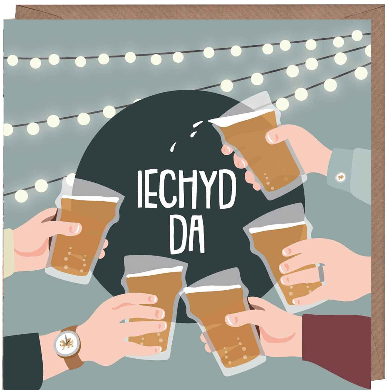 Card - Iechyd Da! Cheers!-The Welsh Gift Shop