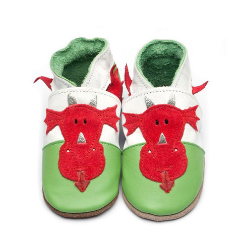 Baby Shoes - Leather - Welsh Dragon-The Welsh Gift Shop