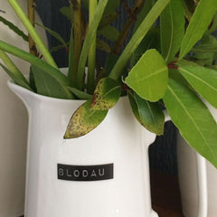 Jug / Vase - Black Label - Flowers - Blodau