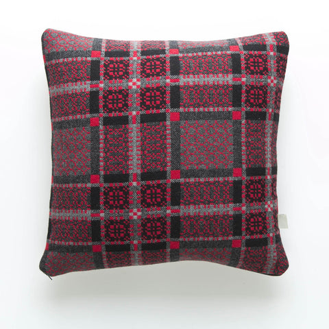 Cushion Cover - Melin Tregwynt - Welsh Tapestry / Knot Garden - Red