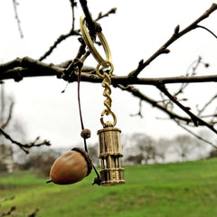 Keyring - Miner's Lamp - Brass-The Welsh Gift Shop