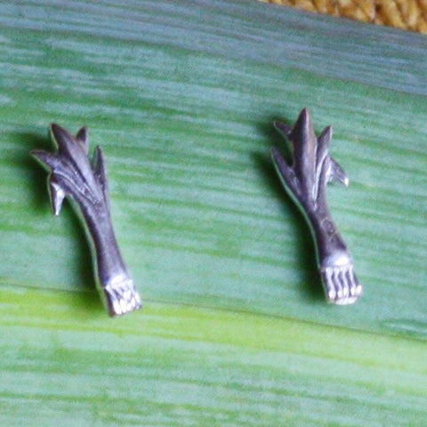 Earrings - SIlver Studs - Welsh Leeks