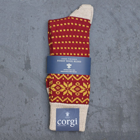 Corgi Socks - Fair Isle Welsh Winter - Wool - Mens - Linen