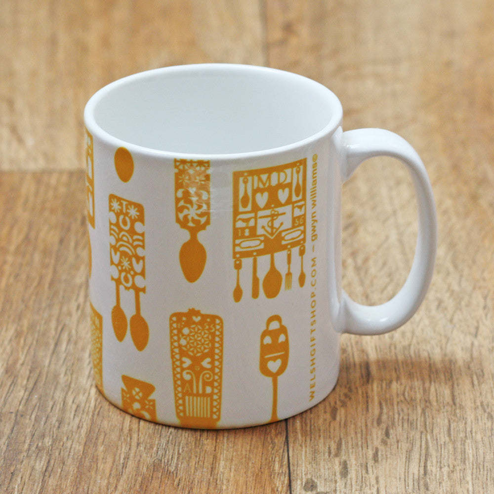 Mug - Welsh Lovespoons - Various Colours