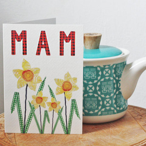 Card - Homemade Daffodils - Mam-Card-The Welsh Gift Shop
