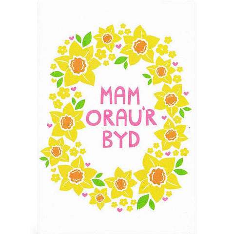 Card - Mam Orau'r Byd - Daffodils-Card-The Welsh Gift Shop