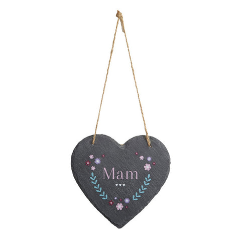 Slate Hanging Heart - Mam - Mother
