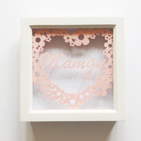 Framed Paper Cut - Floral Heart - Mamgu-Picture / SIgn-The Welsh Gift Shop