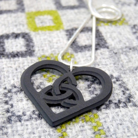 Necklace - Welsh Slate - Celtic Heart