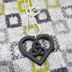 Necklace - Welsh Slate - Celtic Heart-Jewellery-The Welsh Gift Shop