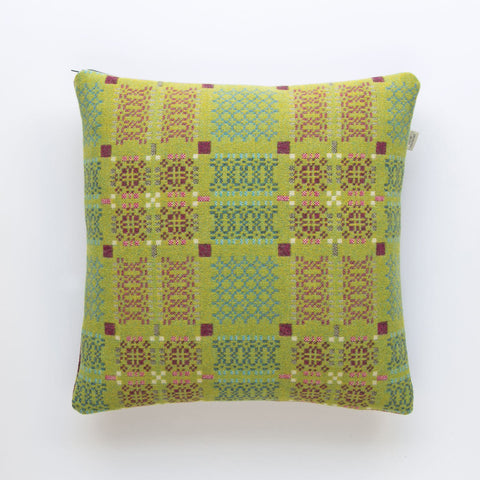 Cushion Cover - Melin Tregwynt - Welsh Tapestry / Knot Garden - Green-The Welsh Gift Shop