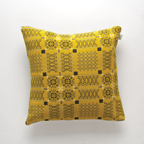 Cushion Cover - Melin Tregwynt - Welsh Tapestry / Knot Garden - Yellow