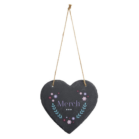 Slate Hanging Heart - Merch - Daughter-The Welsh Gift Shop