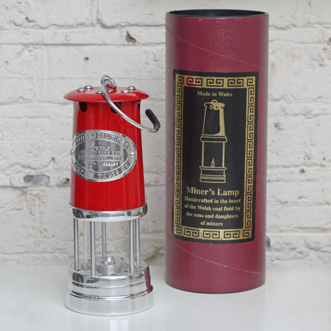 Miner's Lamp - Large - Red-The Welsh Gift Shop