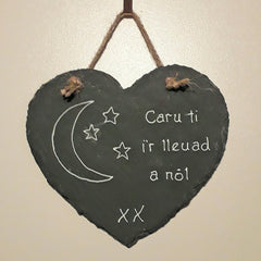 Welsh Slate Heart - Personalised-Picture / SIgn-The Welsh Gift Shop