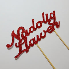 Cake Topper - Merry Christmas - Nadolig Llawen-The Welsh Gift Shop