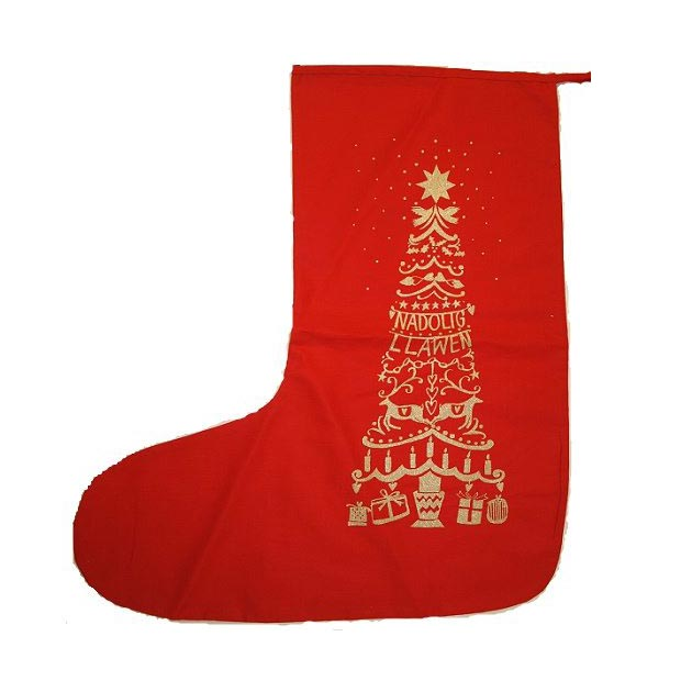 Christmas Stocking - Hosan Nadolig - Cotton-The Welsh Gift Shop
