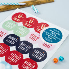 Stickers / Gift Labels - Nadolig Llawen - Assorted Circular x 24