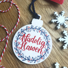 Christmas Decoration - Wooden - Nadolig Llawen / Merry Christmas