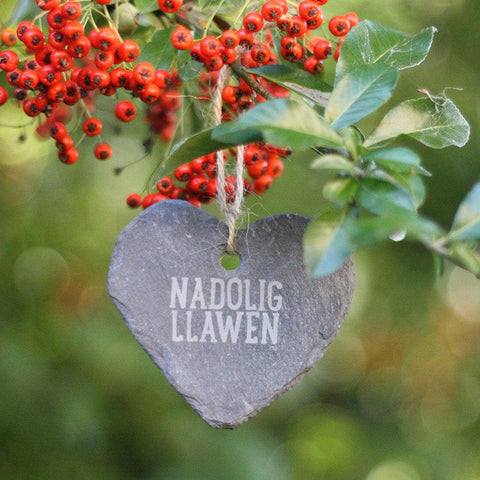 Slate Heart - Hand Made in Wales - Nadolig Llawen - Merry Christmas