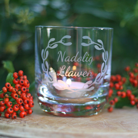 Votive Candle / Tea Light Holder - Nadolig Llawen - Christmas-Kitchen-The Welsh Gift Shop