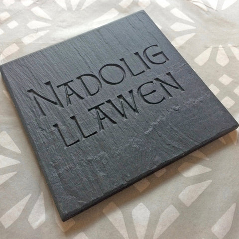 Coasters - Welsh Slate - Nadolig Llawen - Set of four-Kitchen-The Welsh Gift Shop