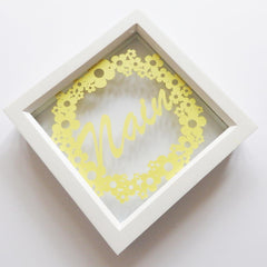 Framed Paper Cut - Floral Ring - Nain-Picture / SIgn-The Welsh Gift Shop