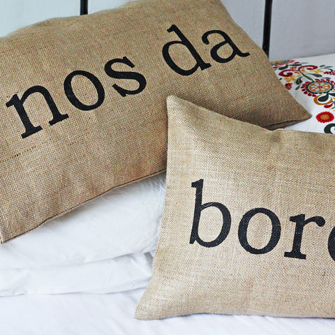 Cushion - Reversible - Bore Da & Nos Da-Pillow-The Welsh Gift Shop