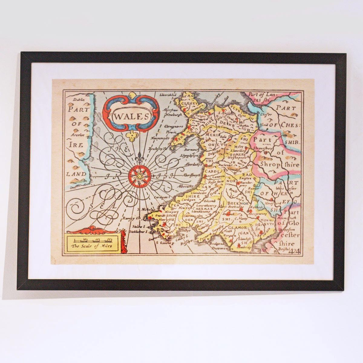 Poster / Print - Vintage Welsh Map - Wales / Cymru-Picture / SIgn-The Welsh Gift Shop