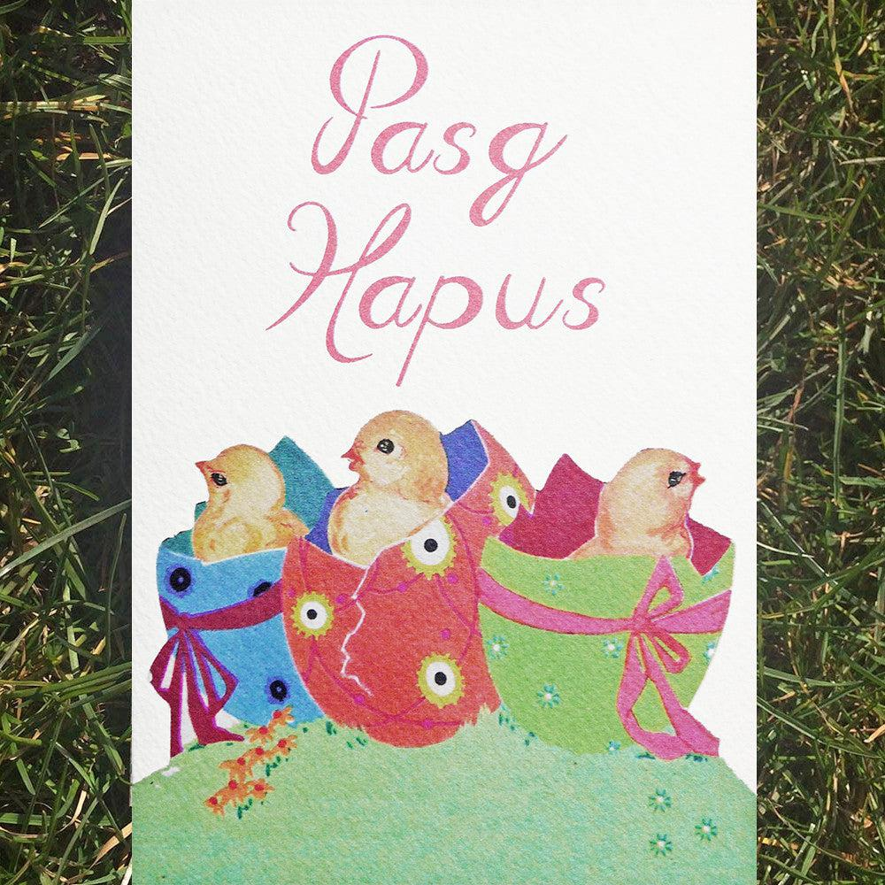 Card - Vintage Chicks - Happy Easter - Pasg Hapus-Card-The Welsh Gift Shop