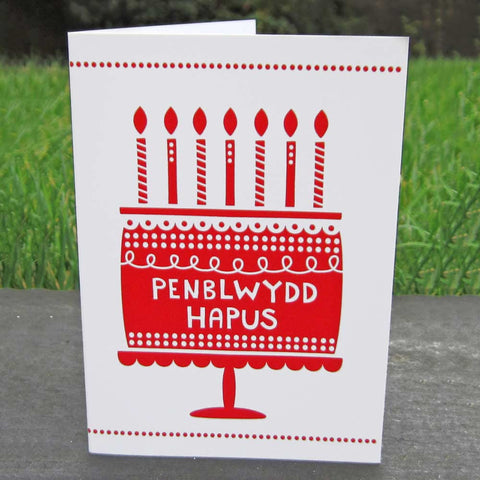 Card - Penblwydd Hapus - Cake-Card-The Welsh Gift Shop