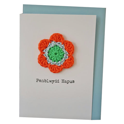 Card - Handmade Crochet - Penblwydd Hapus - Happy Birthday-The Welsh Gift Shop