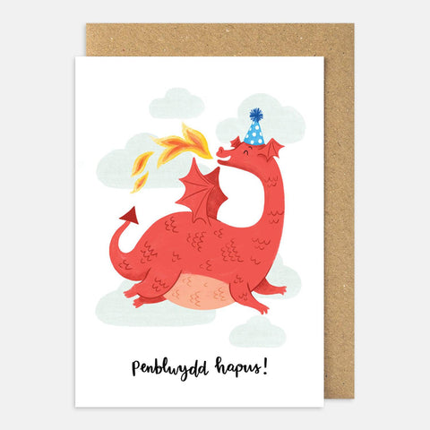 Card - Happy Birthday / Penblwydd Hapus - Dragon