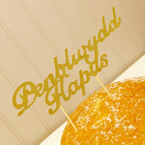 Cake Topper - Happy Birthday - Penblwydd Hapus-The Welsh Gift Shop