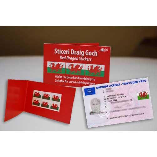 Red Dragon Stickers - For Your Driving License-Book-The Welsh Gift Shop