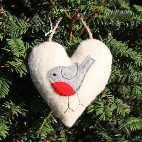 Christmas Heart Decoration - Wool - Lavender - Robin-The Welsh Gift Shop