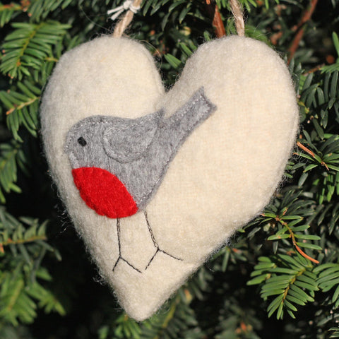 Christmas Heart Decoration - Wool - Lavender - Robin