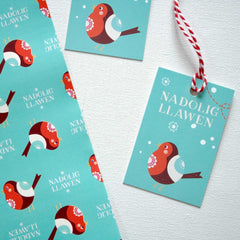 Gift Tags - Nadolig Llawen - Robin Coch - Pack of 5-The Welsh Gift Shop