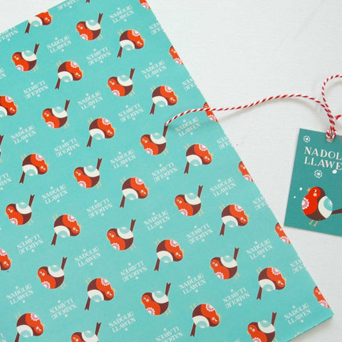 Wrapping Paper / Gift Wrap - Nadolig Llawen - Robin Coch-The Welsh Gift Shop