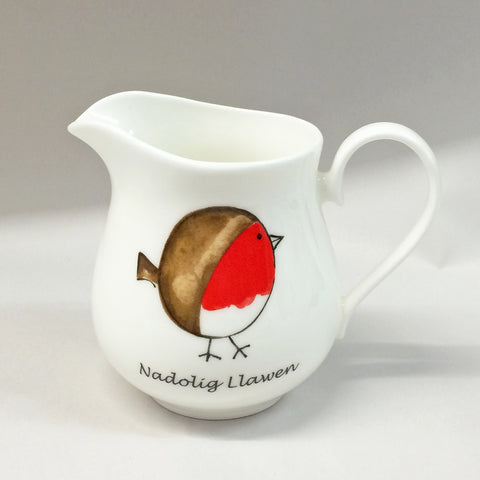 Jug - Cheeky Robin - Merry Christmas - Nadolig Llawen-Mug-The Welsh Gift Shop