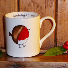 Mug - Cheeky Robin - Merry Christmas - Nadolig Llawen-Mug-The Welsh Gift Shop