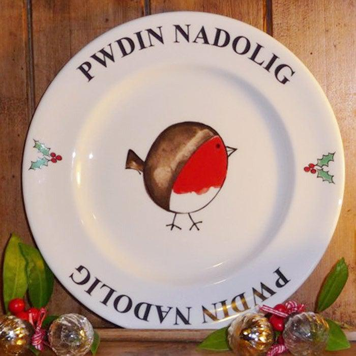 Plate - Cheeky Robin - Christmas Pudding - Pwdin Nadolig