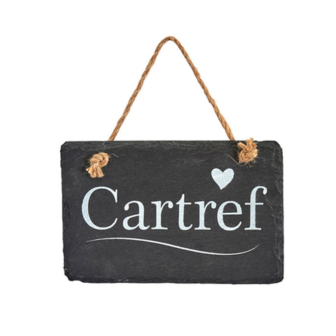 Slate Hanging Sign - Cartref - Home