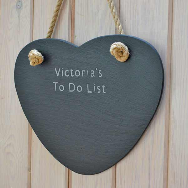 Memo Board - Welsh Slate - Heart - Personalised-Picture / SIgn-The Welsh Gift Shop