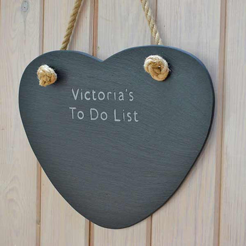 Memo Board - Welsh Slate - Heart - Personalised