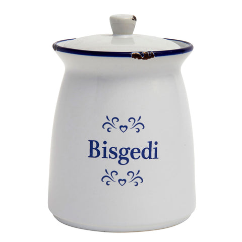 Storage Jar - Blue & White Ceramic - Bisgedi - Biscuits-The Welsh Gift Shop